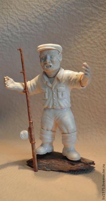 """Миниатюрные модели ручной работы. Ярмарка Мастеров - ручная работа. Купить """"Рыбачок!""""  :). Handmade. Бежевый, оригинальный сувенир"""