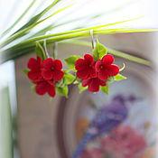 """Украшения ручной работы. Ярмарка Мастеров - ручная работа Серьги """"Red flower"""". Handmade."""