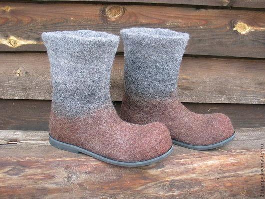 Обувь ручной работы. Ярмарка Мастеров - ручная работа. Купить Валяные полусапоги SIENNA. Handmade. Коричневый, валенки для улицы, ботинки
