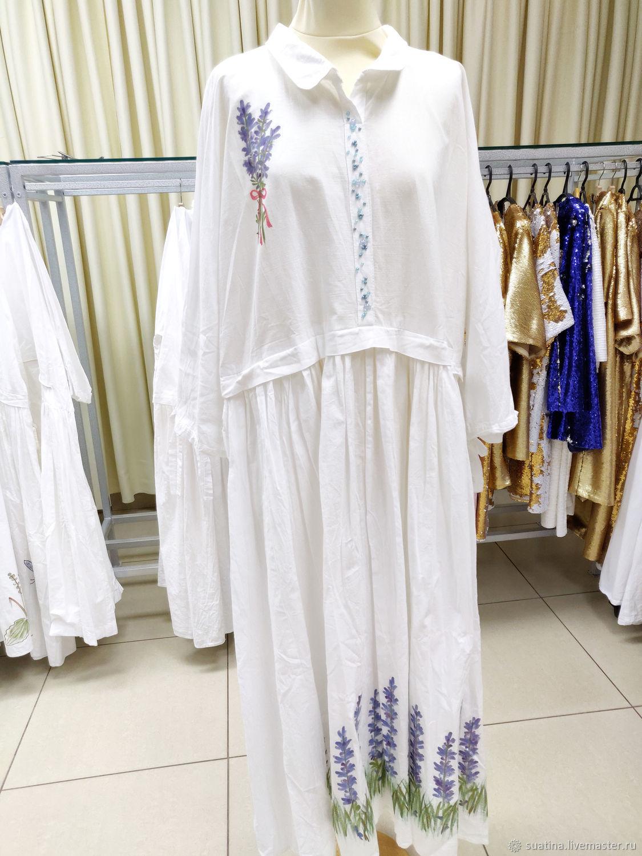 Платье с росписью из испанского хлопка, Платья, Пермь,  Фото №1