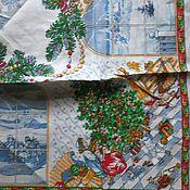 Материалы для творчества ручной работы. Ярмарка Мастеров - ручная работа Сделай новогоднюю салфетку) лен павловопосадский. Handmade.