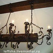 Для дома и интерьера ручной работы. Ярмарка Мастеров - ручная работа Кованая люстра на деревянной балке с цепями. Handmade.