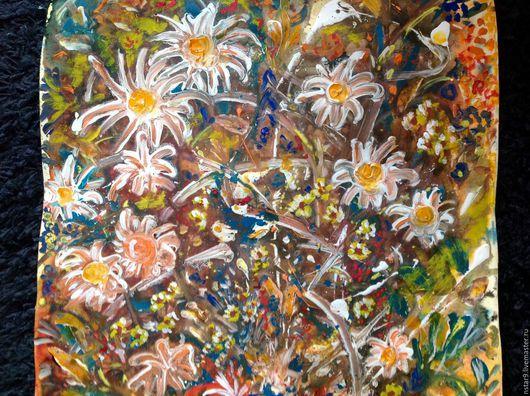 Картины цветов ручной работы. Ярмарка Мастеров - ручная работа. Купить Цветочная поляна. Смешанная техника.. Handmade. Оранжевый