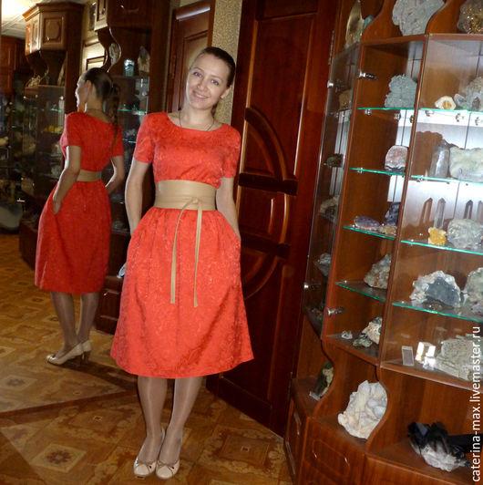 Платья ручной работы. Ярмарка Мастеров - ручная работа. Купить Платье Татьянка, красный жаккард. Handmade. Однотонный, платье из хлопка