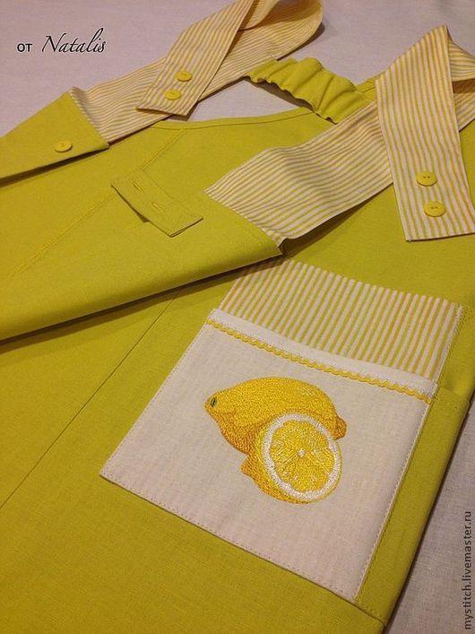 """Кухня ручной работы. Ярмарка Мастеров - ручная работа. Купить Фартук с вышивкой из льна """"Лимоны"""". Handmade. Фартук, кухонный передник"""