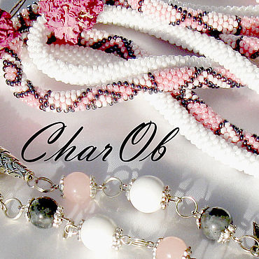 "Decorations handmade. Livemaster - original item ""Мэри""-3 Лариат трансформер розовый серый. Handmade."