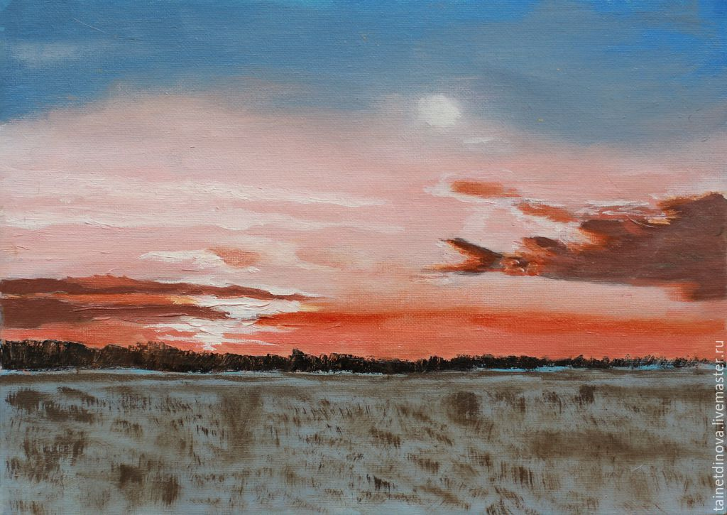 Sunset in the steppe. Picture. Oil on cardboard, Pictures, Yaroslavl,  Фото №1