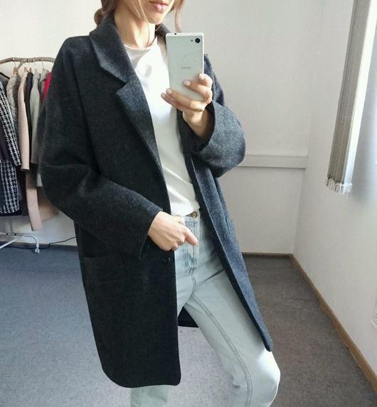 Верхняя одежда ручной работы. Ярмарка Мастеров - ручная работа. Купить Стильное пальто из Темно-серой шерсти. Handmade.