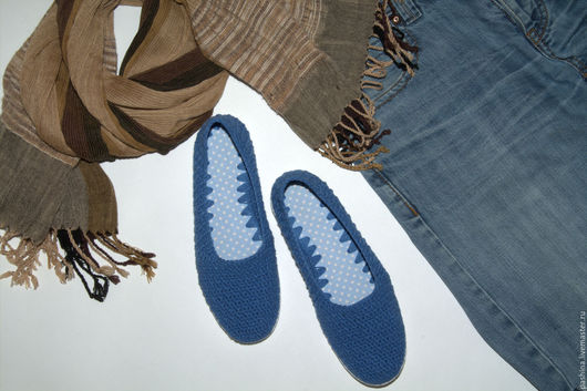 """Обувь ручной работы. Ярмарка Мастеров - ручная работа. Купить Летние балетки-слиперсы STEPPER'S """"Джинсовые"""". Handmade. Синий, мокасины"""
