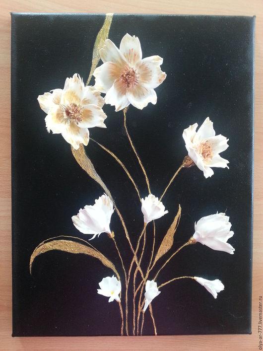 """Картины цветов ручной работы. Ярмарка Мастеров - ручная работа. Купить Объёмная картина на холсте """"Фантазийные цветы"""". Handmade."""