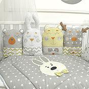 """Бортики в кроватку ручной работы. Ярмарка Мастеров - ручная работа Бортики в кроватку: """"Лунный кот"""". Handmade."""