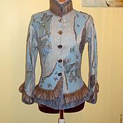 """Одежда ручной работы. Ярмарка Мастеров - ручная работа Валяный пиджак """"Изысканный""""  """"Бабочки"""" голубой. Handmade."""