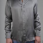 """Одежда ручной работы. Ярмарка Мастеров - ручная работа Мужская серая атласная рубашка """"Cesare"""". Handmade."""