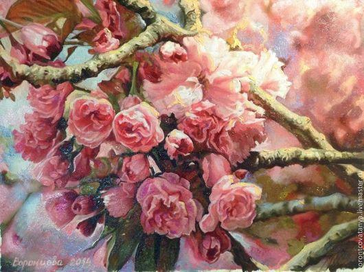"""Картины цветов ручной работы. Ярмарка Мастеров - ручная работа. Купить """"Моя весна"""". Handmade. Розовый, картина в подарок, подарок"""
