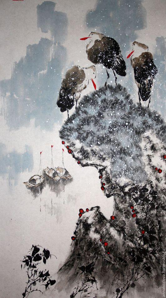 Пейзаж ручной работы. Ярмарка Мастеров - ручная работа. Купить акварельная картинаРанняя весна(китайская живопись птицы вода голубой. Handmade.