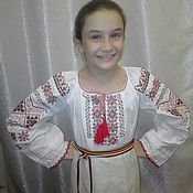 Русский стиль handmade. Livemaster - original item Embroidered shirt for girls. Concert costume.(02). Handmade.