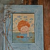 """Для дома и интерьера ручной работы. Ярмарка Мастеров - ручная работа Вышитая картина """"Бусики"""". Handmade."""