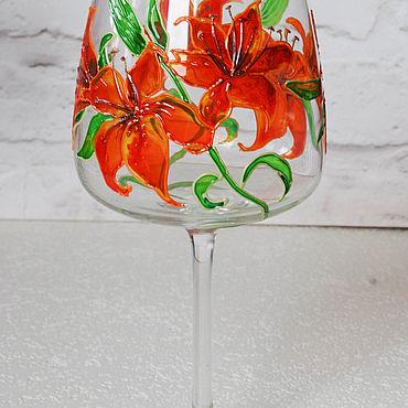 Посуда ручной работы. Ярмарка Мастеров - ручная работа Бокалы для вина с лилиями. Handmade.