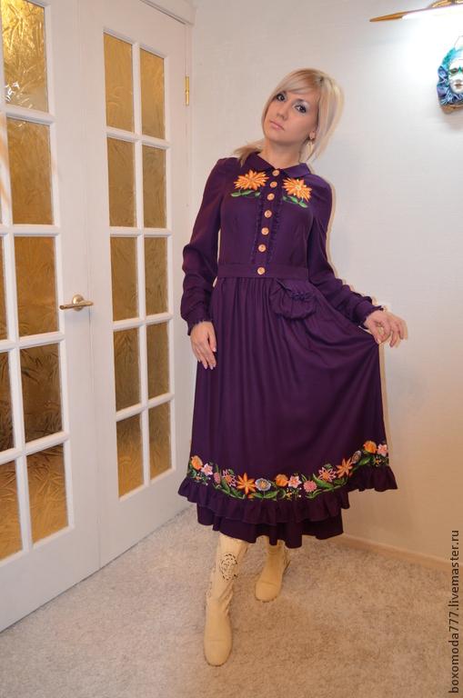 Платья ручной работы. Ярмарка Мастеров - ручная работа. Купить платье бохо стиль,, Фиалочка,,. Handmade. Тёмно-фиолетовый, рюши