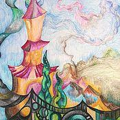 """Картины и панно ручной работы. Ярмарка Мастеров - ручная работа Картина """"Зазеркалье: Замок света"""" Акварель Сказка Алиса в Зазеркалье. Handmade."""