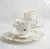 """Винтаж ручной работы. Ярмарка Мастеров - ручная работа Чайное трио  """"Белое золото"""", Royal Osborne, Англия. Handmade."""