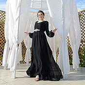 Одежда handmade. Livemaster - original item black floor-length dress of satin and chiffon. Handmade.
