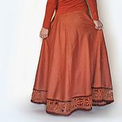 """Одежда ручной работы. Ярмарка Мастеров - ручная работа Длинная льняная юбка  с кружевом  """"Оранжевое небо"""". Handmade."""