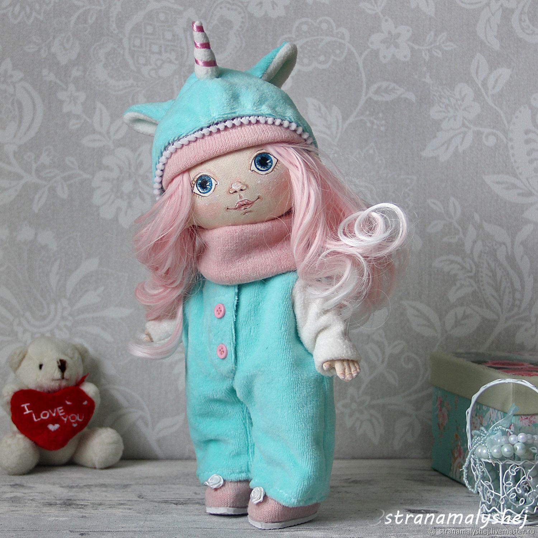 Little rag doll in a unicorn costume, Dolls, St. Petersburg,  Фото №1