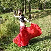 Skirts handmade. Livemaster - original item Long wide tribal dance skirt. Handmade.