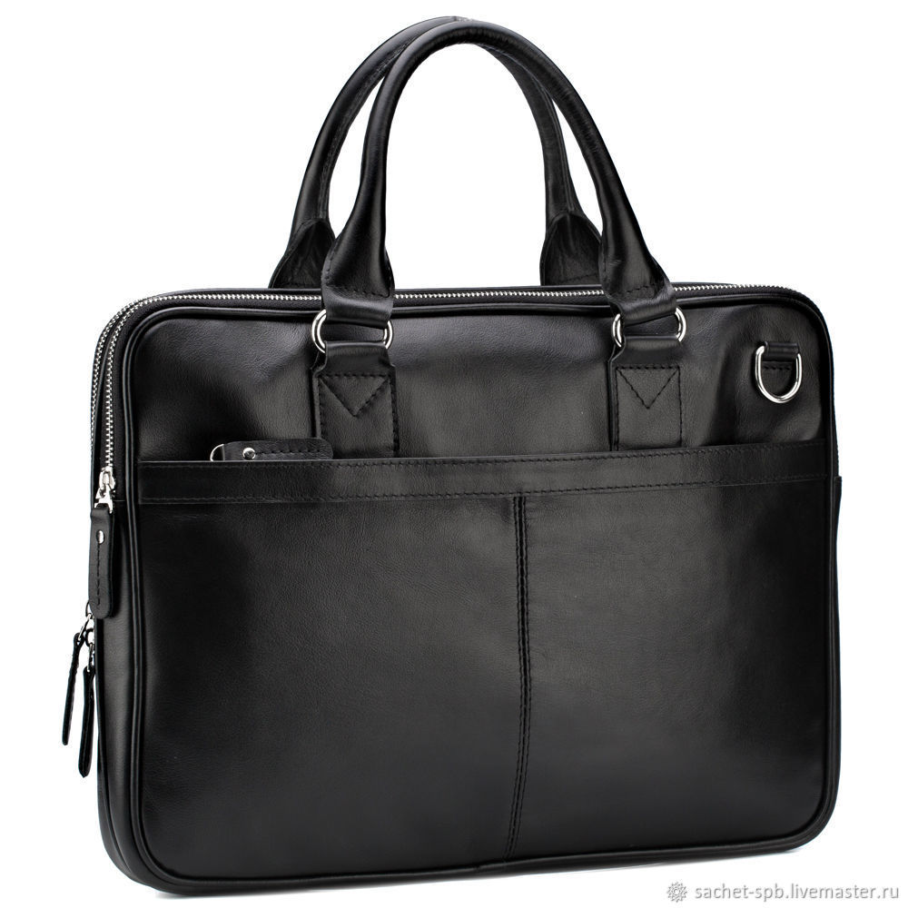 Leather business bag 'Clark' (black), Classic Bag, St. Petersburg,  Фото №1