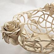 Для дома и интерьера ручной работы. Ярмарка Мастеров - ручная работа Фруктовница Кремовые розы. Handmade.