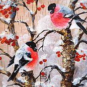 """Картины ручной работы. Ярмарка Мастеров - ручная работа """" Снегири на рябине """" Картина на бересте. Handmade."""