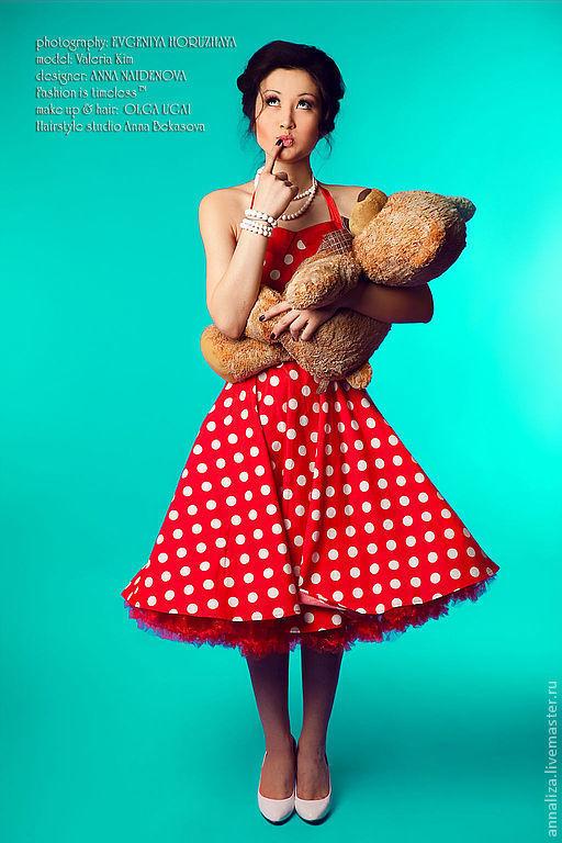 Платье в горох стиль ретро