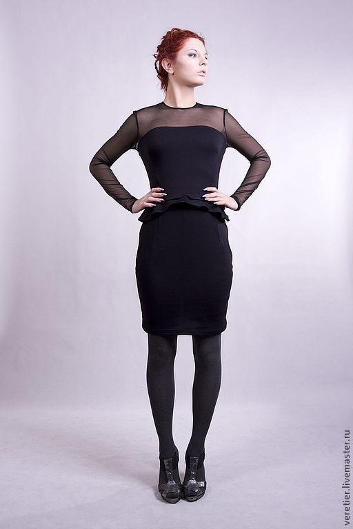 Платья ручной работы. Ярмарка Мастеров - ручная работа. Купить Трикотажное  платье с двойной баской. Handmade. Черный, баска