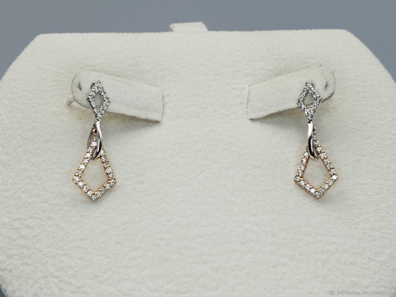 Gold stud earrings with diamonds 0,310 ct, Stud earrings, Moscow,  Фото №1