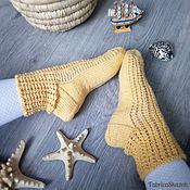 Аксессуары ручной работы. Ярмарка Мастеров - ручная работа Вязаные шерстяные носки желтого цвета. Handmade.