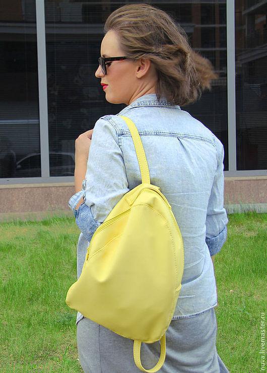 Рюкзаки ручной работы. Ярмарка Мастеров - ручная работа. Купить Желтый рюкзак. Handmade. Лимонный, желтый, рюкзак без карманов