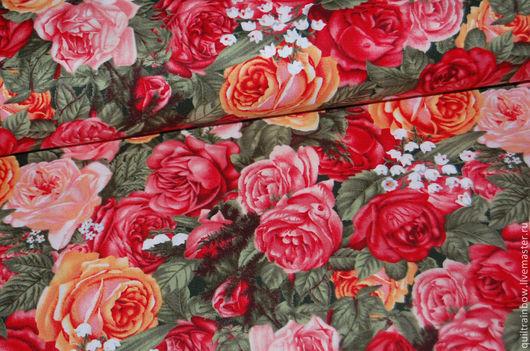 """Шитье ручной работы. Ярмарка Мастеров - ручная работа. Купить Хлопок """"Любимый дом"""" (розы). Handmade. Разноцветный, ткань хлопок"""