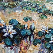 Картины и панно ручной работы. Ярмарка Мастеров - ручная работа ``Белые кувшинки``. Картина маслом( 90-45 cм). Handmade.