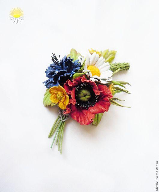 """Броши ручной работы. Ярмарка Мастеров - ручная работа. Купить Цветы из кожи """"Летний день"""" Брошь из кожи, украшение из кожи. Handmade."""