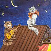 handmade. Livemaster - original item Oil painting Blues night roof.. Handmade.