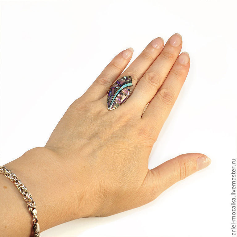 Ring `Leaf` ARIEL - Alena - MOSAIC Moscow Ring with turquoise Ring with charoite Ring with lapis lazuli Ring with mother of pearl Ring with rhodonite Ring - Mosaic from natural stones