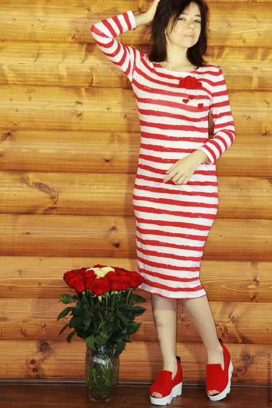 """Платья ручной работы. Ярмарка Мастеров - ручная работа. Купить Платье летнее по колено """"Красная морячка"""". Handmade. Ярко-красный"""