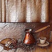 Картины и панно ручной работы. Ярмарка Мастеров - ручная работа Резное дерево_Утренний кофе. Handmade.