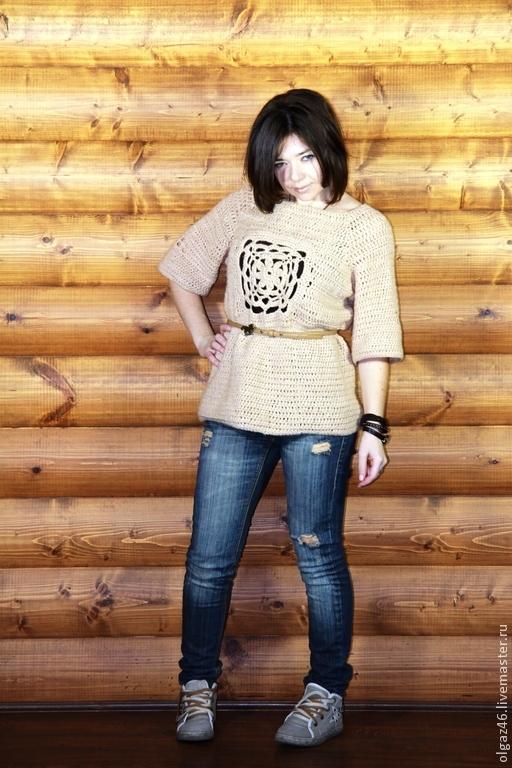 """Кофты и свитера ручной работы. Ярмарка Мастеров - ручная работа. Купить Вязанный свитер рукав до локтя """"цветок в квадрате"""". Handmade."""