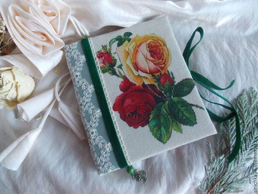 """Блокноты ручной работы. Ярмарка Мастеров - ручная работа. Купить Блокнот """" Розы """". Handmade. Тёмно-зелёный, картон"""