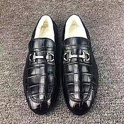 Обувь ручной работы handmade. Livemaster - original item Men`s loafers with fur, genuine crocodile leather, in black!. Handmade.