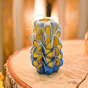 Свечи ручной работы. Ярмарка Мастеров - ручная работа Резная свеча синяя, Резные свечи в подарок, Резная свеча желтая. Handmade.