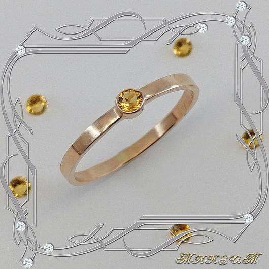 Mini-week ring 585 gold, citrine, Rings, St. Petersburg,  Фото №1