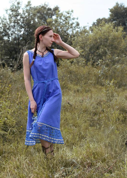 Льняное платье, васильковое платье, льняной сарафан, оригинальное летнее платье, платья и сарафаны ручной работы, автор Юлия Льняная сказка